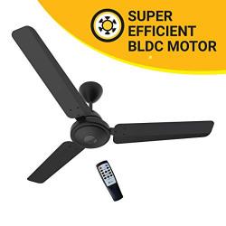 Atomberg Efficio 1200 mm BLDC Motor with Remote 3 Blade Ceiling Fan(Matt Black, Pack of 1)