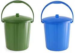 Cello Kleeno Plastic Garbage Dustbin Bucket 10 LTR - Blue & Green - Pack of 2