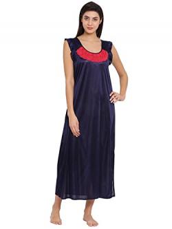 Clovia Women's Satin Solid Nighty (NS1138P08_Blue_Free Size)