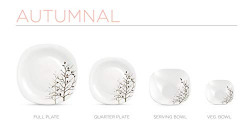 Diva From La Opala Quadra Autumnal Opalware Dinner Set, 23-Pieces, Dark and Light Brown