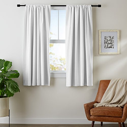 AmazonBasics Room Darkening Blackout Window Curtains (Pack of 2) with Tie Backs - 245 GSM - (5.25 ft) - White