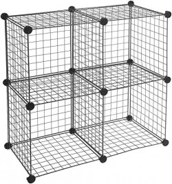AmazonBasics Metallic 4 Cube Wire Storage Shelves - Black@₹230