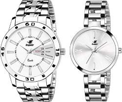 Espoir Analog Stainless Steel White Dial Couple Watch - White-ManishaLuke