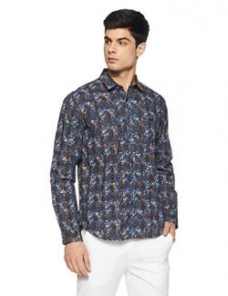 Van Heusen Men's Printed Slim Fit Casual Shirt  (VDSF318E008450_Blue_42)