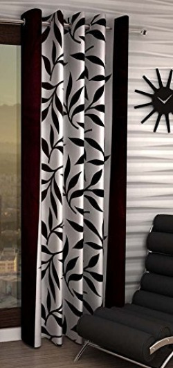 Eyelet Fancy Polyester Single Piece Window Curtain- Brown [Free Delivery]