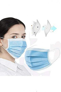 3-Ply Disposable Face 𝐌𝐀𝐒𝐊 Can be Used in Offices, Household and Crowded Places, with Elastic Earloop Color (Blue) Free 4-in-1 Nano Sim Card Adapter with Ejector Pin & cable (Blue, 200)