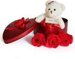 OFIXO Multicolor Valentine Day Gift for Wife, Special Valentine's Day Gift for Lover, Valentine's Day Gift for Lover, Valentine Day Gift for Wife (Heart Shaped Box with Teddy and Roses)