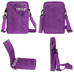 DMG GAO 8 inch Dual Zipper Messenger Sling Bag Carrying Case with Accessory Pockets for Apple iPad Mini 2 3 Tablets (Purple)