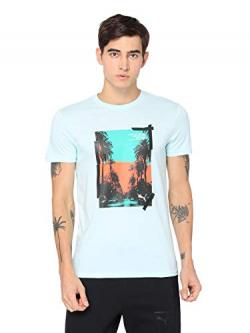 Puma Men's Plain Regular fit T-Shirt (57954634_Fair Aqua Xx-Large)