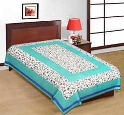 UniqChoice Rajasthani Traditional 144 TC Cotton Single Bedsheet - Blue
