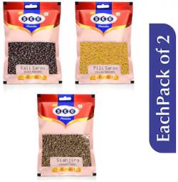 Just Seg Whole Spices Masala Black Mustard 100g;Peeli Sarso 100g;Shah Jeera 50g Each Pack 2(Pack Of 6)