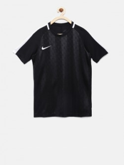 Nike Boys Self Design Polyester T Shirt(Black, Pack of 1)