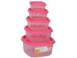 Princeware Microwave Safe Container Set, Set of 5, Pink