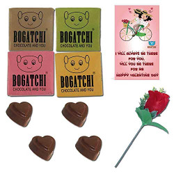 BOGATCHI Valentine Day Chocolate Gift for Girlfriend- Boyfriend- Wife- Husband, 4pc + Free Valentines Day Card and Rose