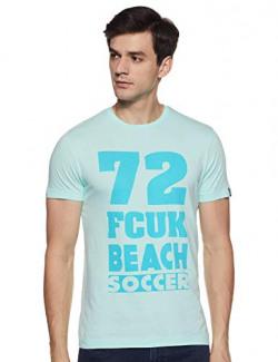 French Connection Men's Printed Slim fit T-Shirt (563BQ-MAGIC Mint_Light Green S)