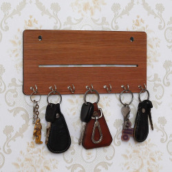 Webelkart Wall Mounted Key Holder for Wall/Home Decor/Office Decor (25 cm x 11 cm x 0.4 cm, Brown)- 7 Hooks