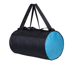 Storite Multipurpose Nylon Round Large Shoulder Gym Sport Duffle Bag for Men (40.6 x 26.6 x 26.6 cm, Black/Blue)