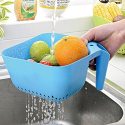 Kretix Kitchen Easy Cleaning Fruit Storage Box Organizer Shelf Sink Drain Folding Basket Square - Multi Color