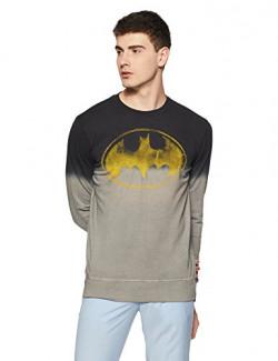 Batman by Free Authority Men's Sweatshirt (BM1FSM30_Black/Grey (Ombre Dyed)_Medium)