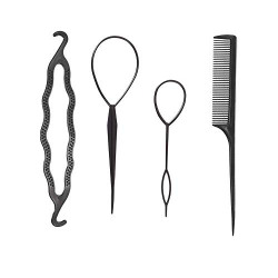 FLAWISH Hair Styling Tools Set Hair Braiding Topsy Bun Maker Comb Tool Kit DIY Hair Accessories -4Pcs