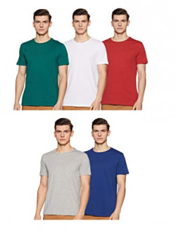 Amazon Brand - Symbol Men's Solid Regular Fit Half Sleeve Cotton T-Shirt (Combo Pack of 5) (AW17PLPO5-4_XL_Multicolor4)