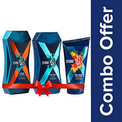 Set Wet Studio X Brightening Face Wash, 100 ml with Cooling and Style Shampoo, 180ml and Refresh Body Wash, 180ml