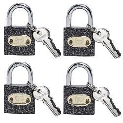 Harrison C I-0322_PK 4 Iron 3 Pins Padlock with 3 Keys (Pack of 4)