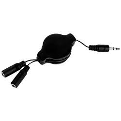 SumacLife NBKDAT424_18 Retractable 2-Way Audio Jack Splitter Earphone Headphone Splitter Music Sharing Cable (Black)