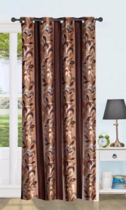 Flipkart SmartBuy 152 cm (5 ft) Polyester Window Curtain Single Curtain(Printed, Brown cs)