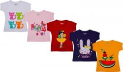 Kuchipoo Girls Printed Cotton Blend T Shirt(Multicolor, Pack of 5)