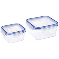 Amazon Brand - Solimo Square Glass Storage Container Set, Set of 2, Transparent