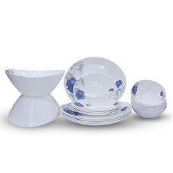 Soogo Opalware Dinner Set, 26-Pieces, White and Blue
