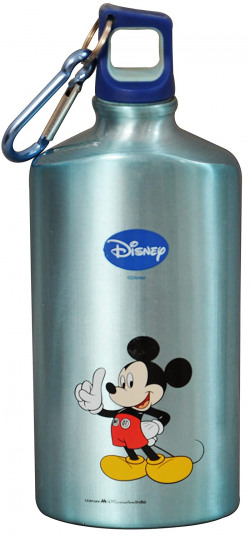 Disney Mickey Mouse Aluminum Sipper Bottle, 500ml, Light Blue/Blue