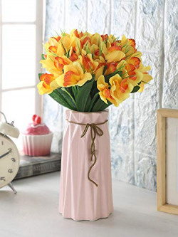 Fourwalls Artificial Cymbedium Flower Bunches (12 cm x 12 cm x 31 cm, Yellow, Set of 3)