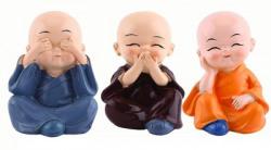 GW Creations Beautiful 3 Little Monk Buddha Decorative Showpiece  -  5 cm(Polyresin, Brown, Blue, Orange)