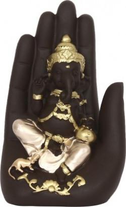 eCraftIndia Golden Handcrafted Ganesha Palm Decorative Showpiece  -  16 cm(Polyresin, Multicolor)
