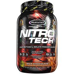 Muscletech Performance Series Nitrotech Whey Protein Peptides & Isolate (30g Protein, 2g Sugar, 3g Creatine, 6.8 BCAAs, 5g Glutamine & Precursor, Post-Workout) - 2lbs (907g) (Milk Chocolate)