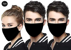 HE BLAZZE 2002 Anti-Dust Anti Pollution Reusable Washable Wind and Dust Proof Safety Dual Filter Face Mouth Mask For Men and Women (Black
