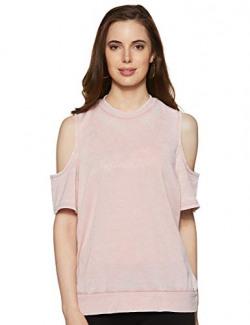 Forever Twenty One Women's Regular fit T-Shirt (226337_Light Pink XL)
