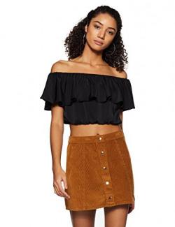 Forever Twenty One Women's Regular Fit Top (84163_Black_Medium)