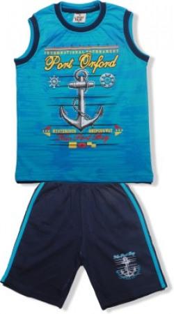 Little Hub Boys Party(Festive) T-shirt Shorts(Blue)