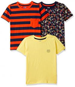 Amazon Brand - Jam & Honey Boy's Tribal Regular fit Cotton T-Shirt (Combo Pack of 3) (SS19KBP03TEE106_Multicolor_5-6 Years)