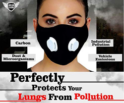urbangabru N99 Anti Pollution Mask with 4 layer protective filters Pm 2.5 Activated Carbon Filters - reusable & washable (Black) (polyester_cloth)