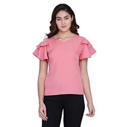 J B Fashion Women's Regular fit Top (D-348-M_Peach Medium)