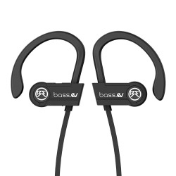 Bass Evolution 2019 Design Hexa Bluetooth 5.0 Wireless Sports Earphones with Mic, IPX5 Sweatproof, Nano Coated Components, CVC 6.0 Noise Cancelling, 8 Hours Play Time (Black)