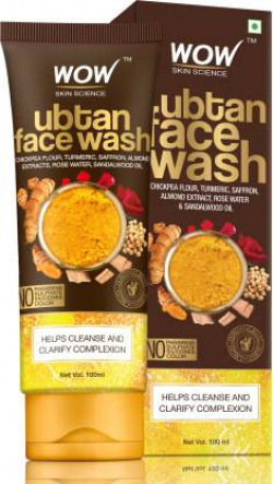 WOW Skin Science Ubtan Face Wash with Chickpea Flour, Turmeric, Saffron, Almond Extract, Rose Water & Sandalwood Oil - No Sulphate, Parabens, Silicones & Color Face Wash  (100 ml)