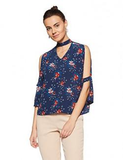 Annabelle By Pantaloons Women's Floral Regular Fit Top (880003357_Ocean Blue_Large)