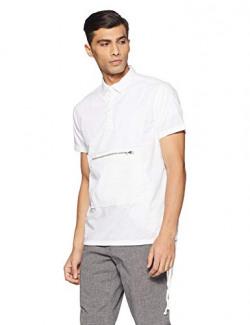 Sf Jeans By Pantaloons Men's Plain Slim Fit Casual Shirt (110039899001_White_XXS)