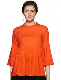 Styleville.in Women Plain Regular fit Shirt STSF402037 Orange Large