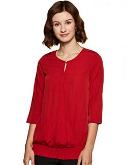 THE VANCA Women's Plain Regular fit Shirt (TSF401197_Red L)